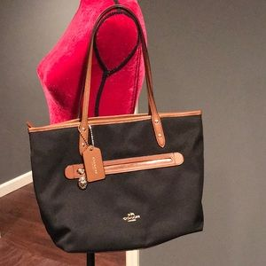 COACH Authentic Sawyer Nylon Canvas & Leather Tote